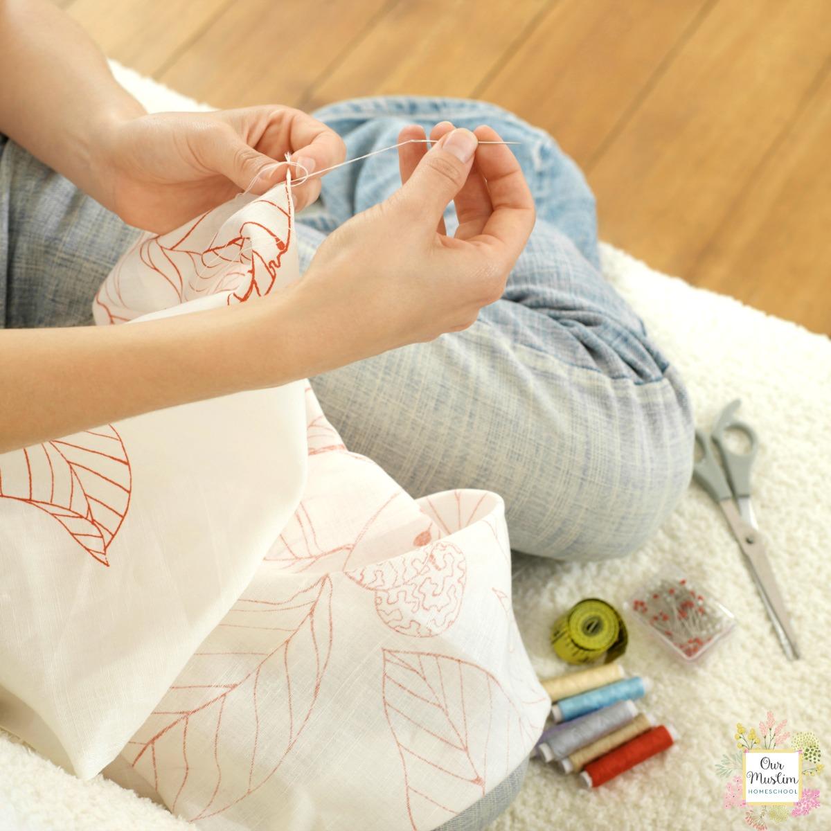 Girl sewing handicraft pillow