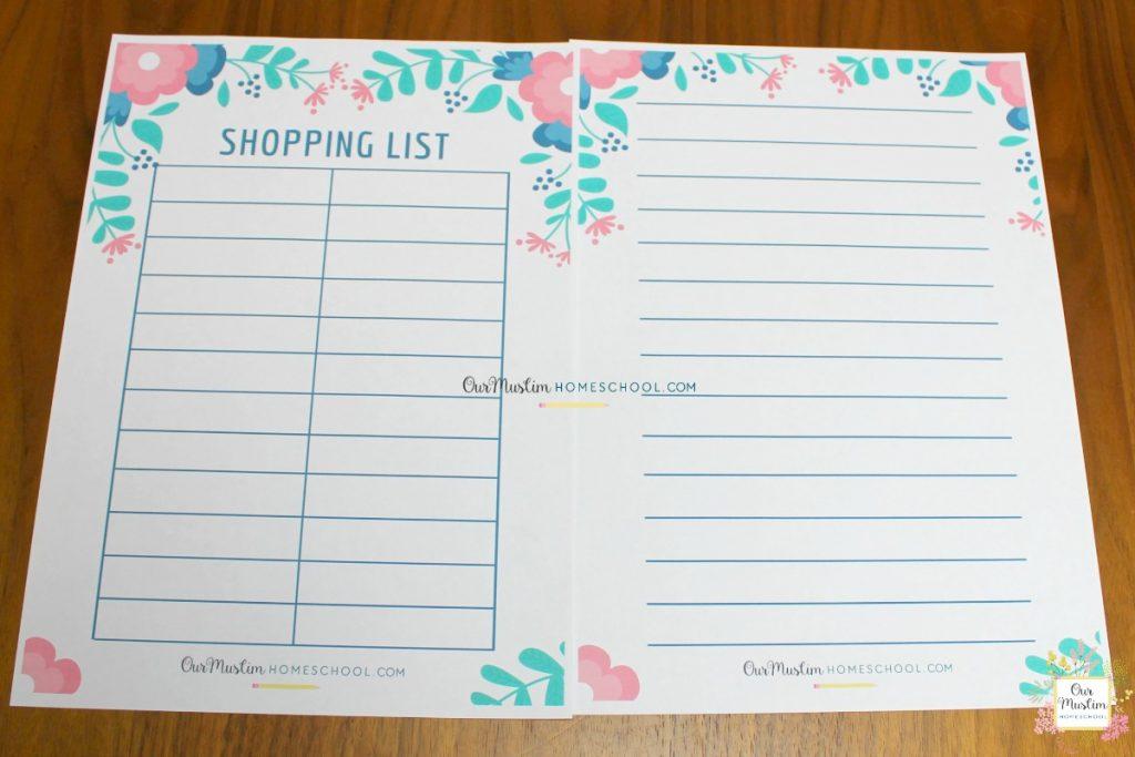 Ramadan Meal Planner Shopping list