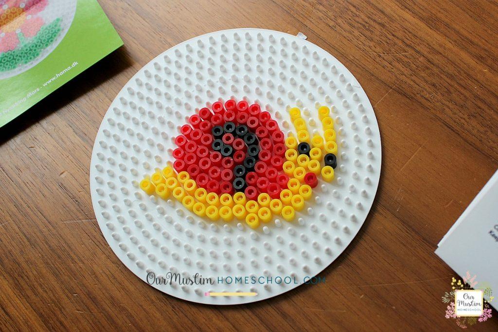 Hama bead snail craft for homeschool unit study