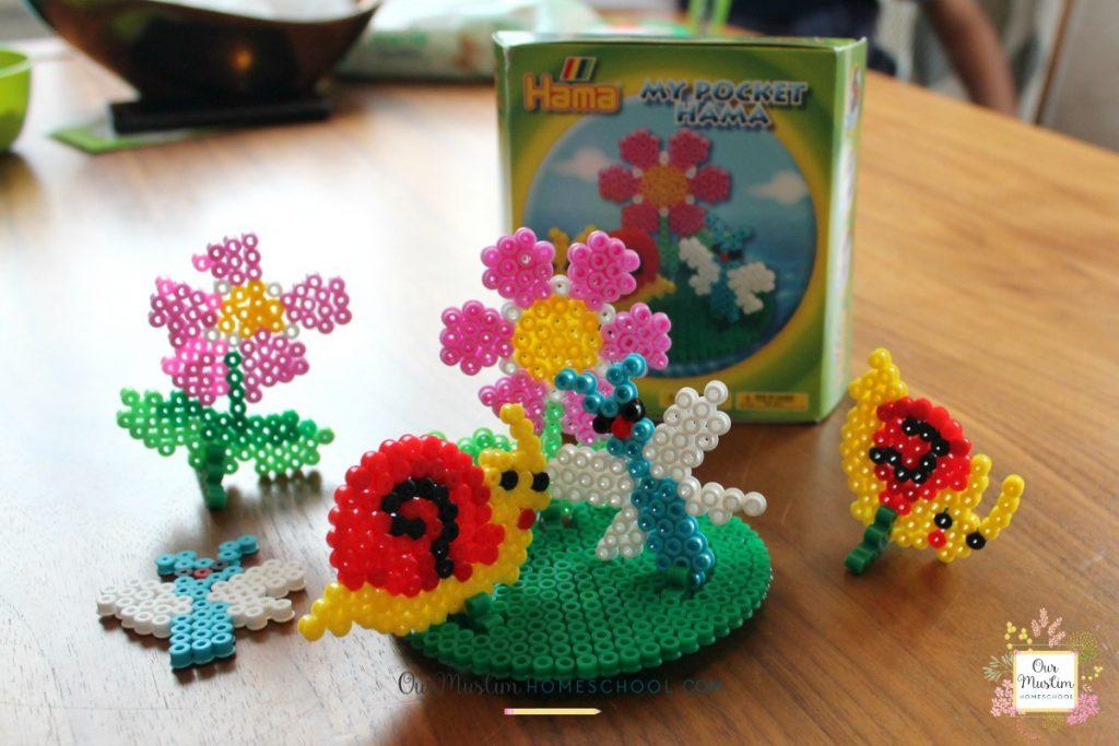 Hama beads homeschool snail craft