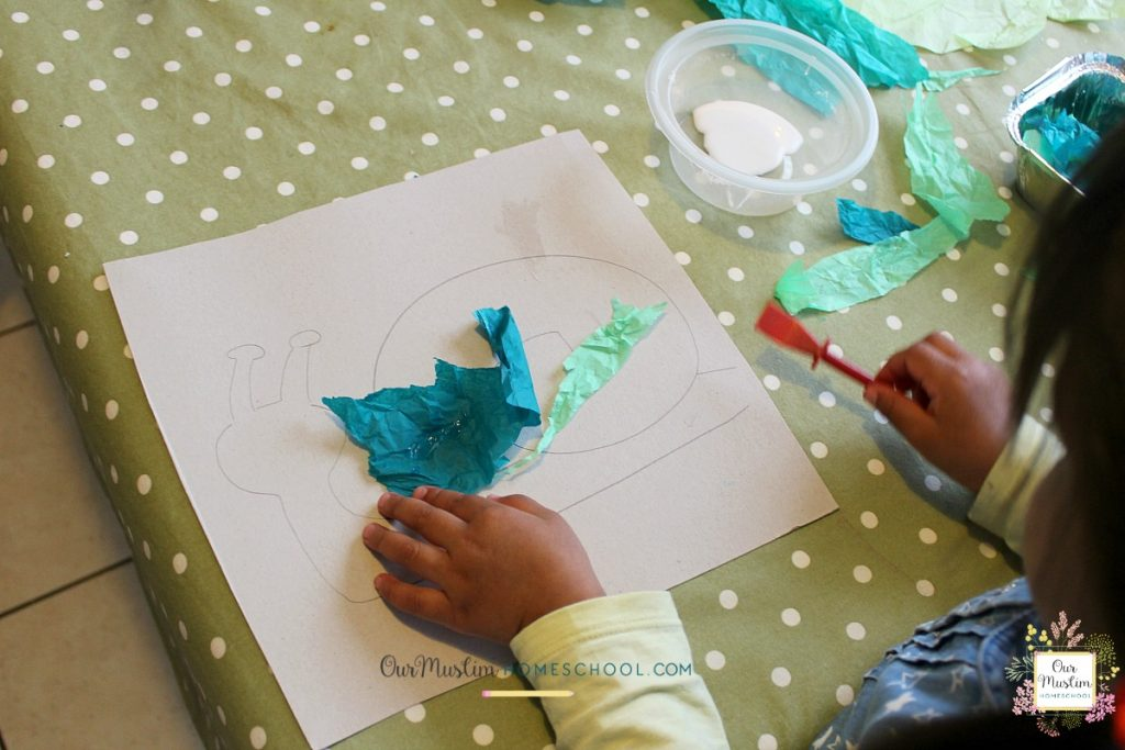 Snails Homeschool Tissue craft