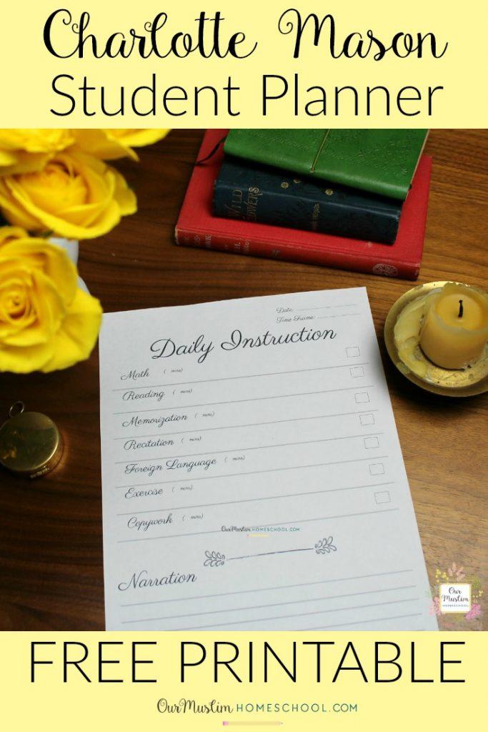Charlotte Mason daily student planner checklist FREE Printable