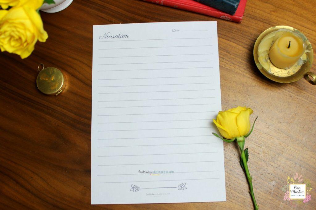narration printable sheet
